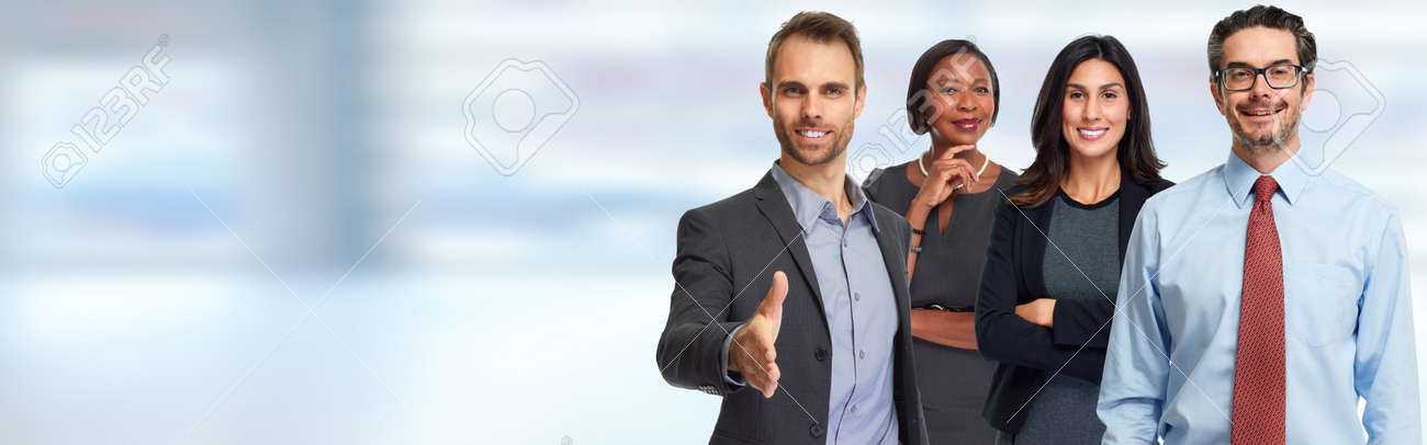 Smiling successful business people team blue banner background. Stock Photo - 65720604