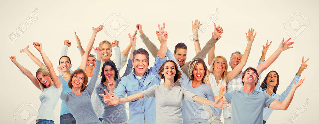 Large group of happy people. Smiling, laughing men and women Standard-Bild - 65720603