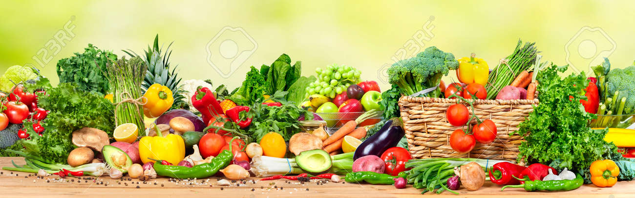 Organic vegetables and fruits variety on the table in kitchen - 66655777