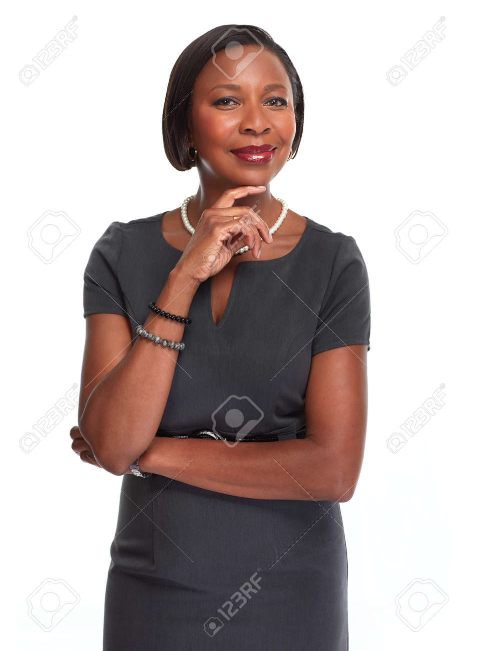 Beautiful afro american business woman isolated white background. - 65962937