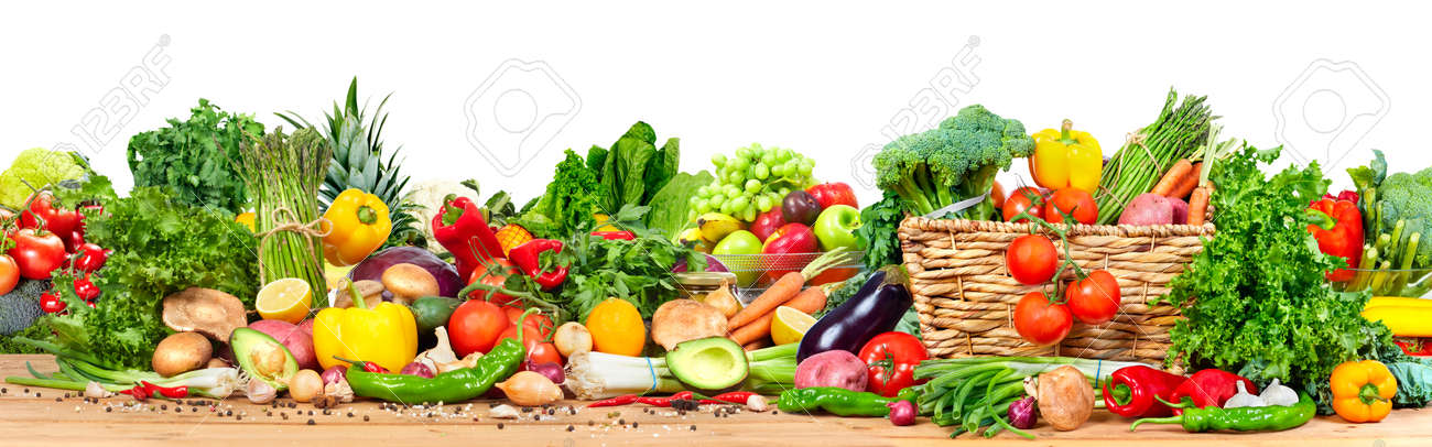 Organic vegetables and fruits Standard-Bild - 71521771