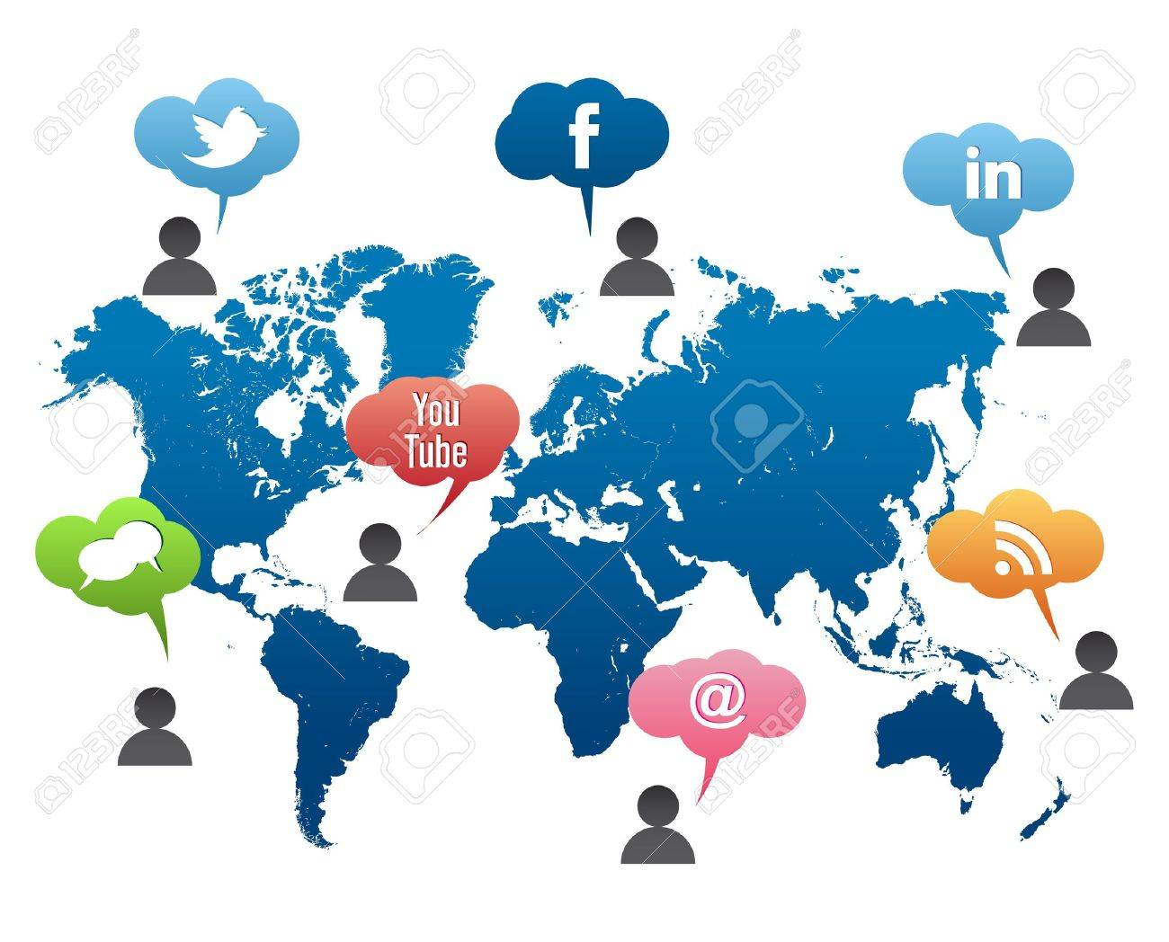 Social media world map vector stock photo picture and royalty free social media world map vector stock photo 13204646 gumiabroncs Image collections