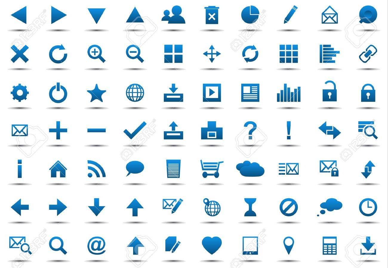 Set of blue navigation web icons isolated on white background Stock Vector - 14645256