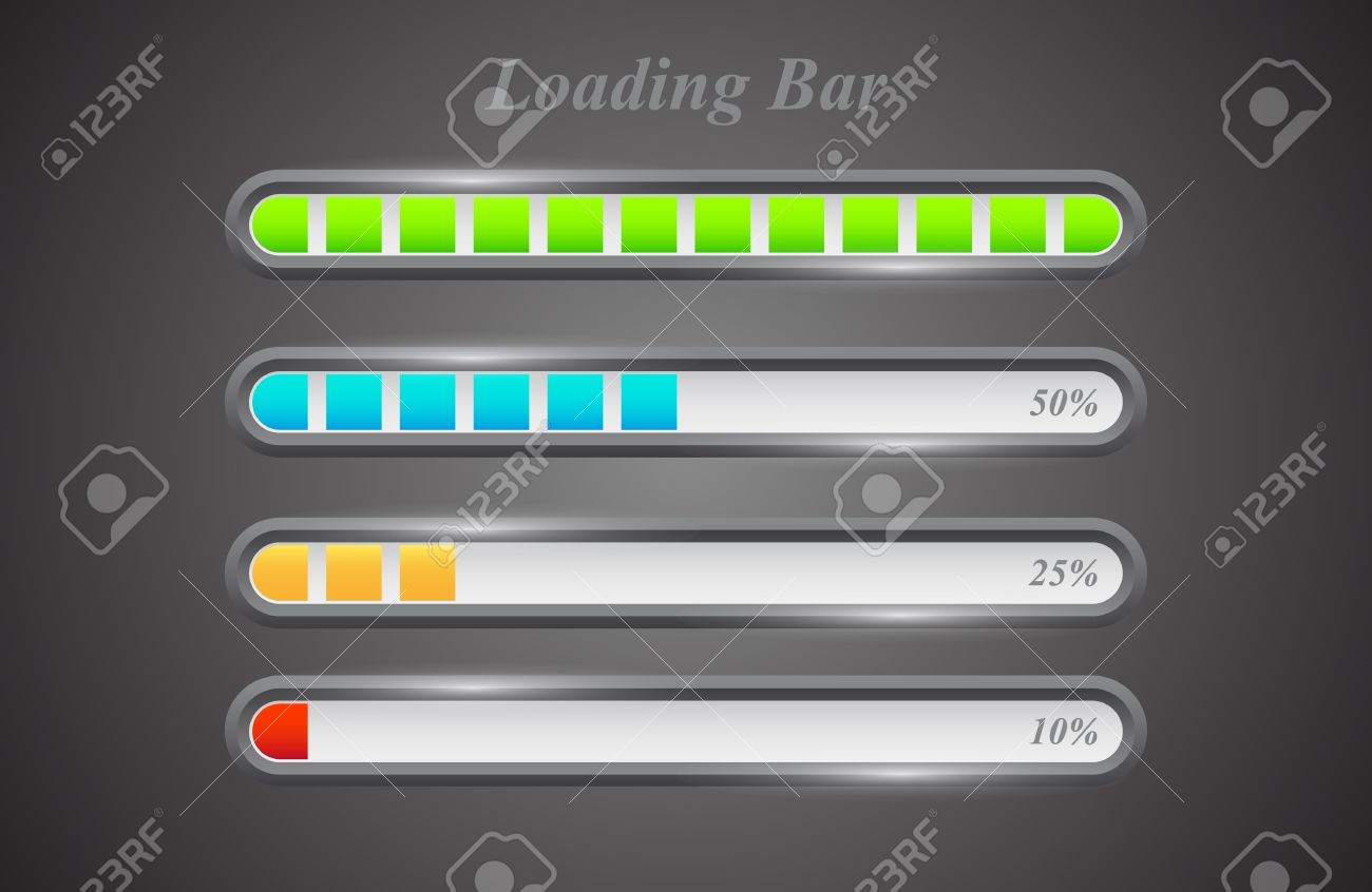 Modern color loading bars set on grey background Stock Vector - 15356800