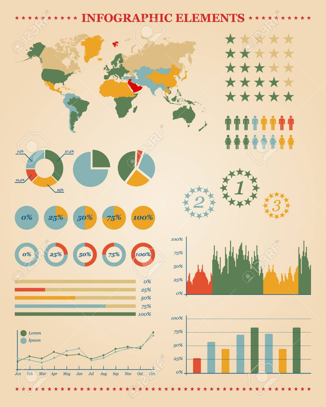 Set of infographic elements for your reports and documents Stock Vector - 17794208