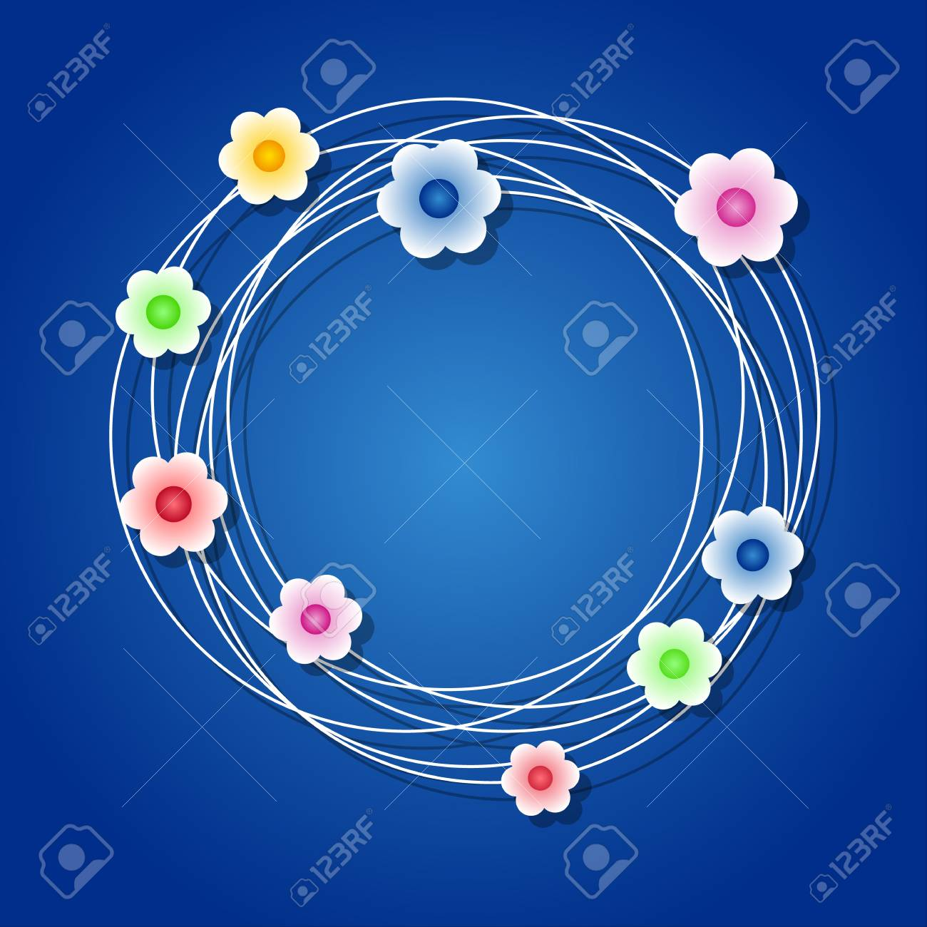 Colored floral wreath on blue background Stock Vector - 18135543