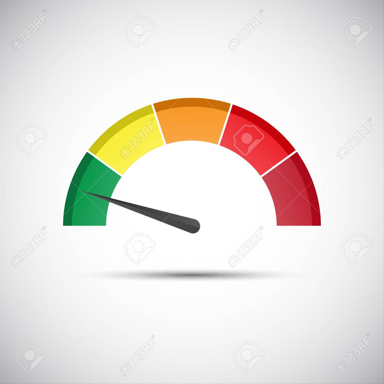 Color tachometer, flow meter with indicator in green part, speed meter and performance measurement icon, illustration for your website, infographic and apps - 57486399