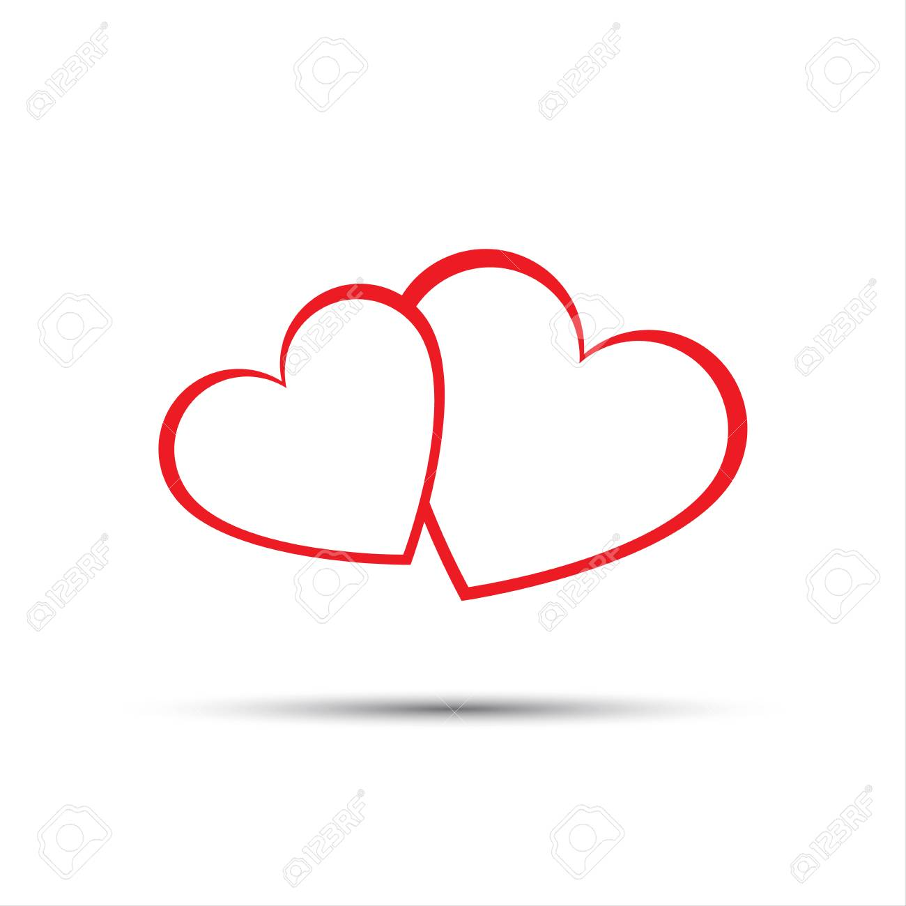 Simple Two Red Hearts Icon Valentines Day Vector Illustration