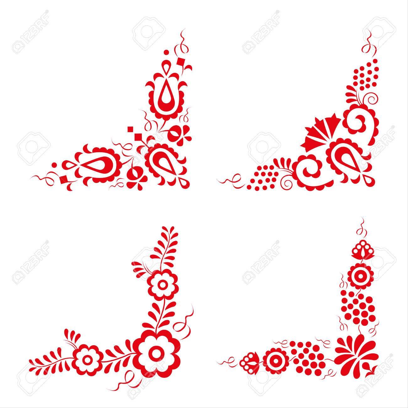 Conjunto De Cuatro Ornamentos Populares Tradicionales, Patrón ...