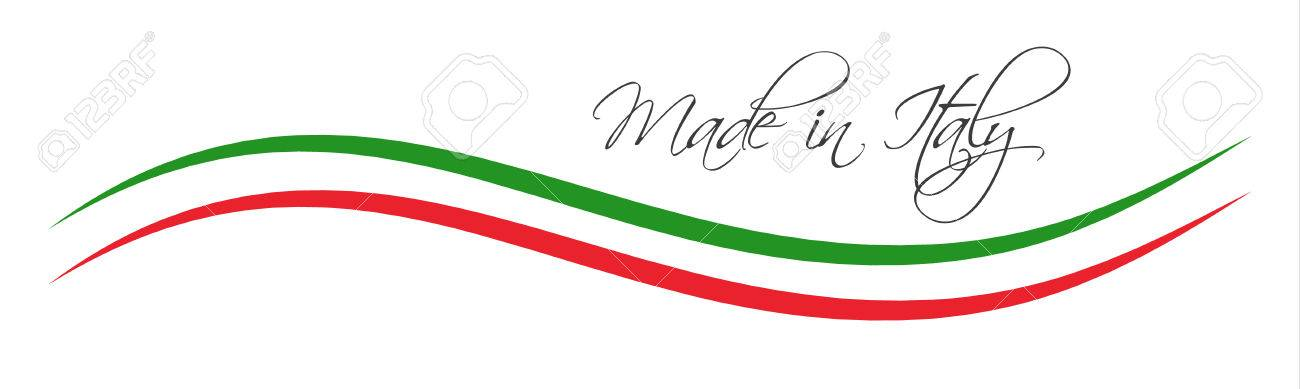 Made in Italy symbol, colored ribbon with the Italian tricolor - 74952735