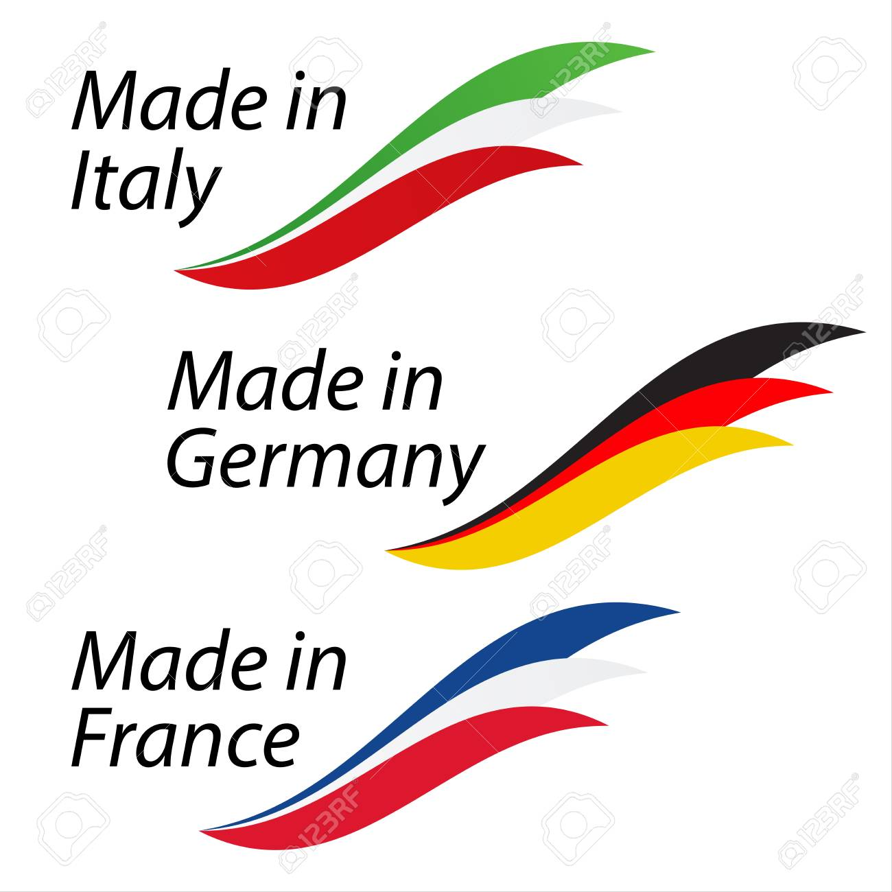 Simple Logos Made In Italy Made In Germany And Made In France