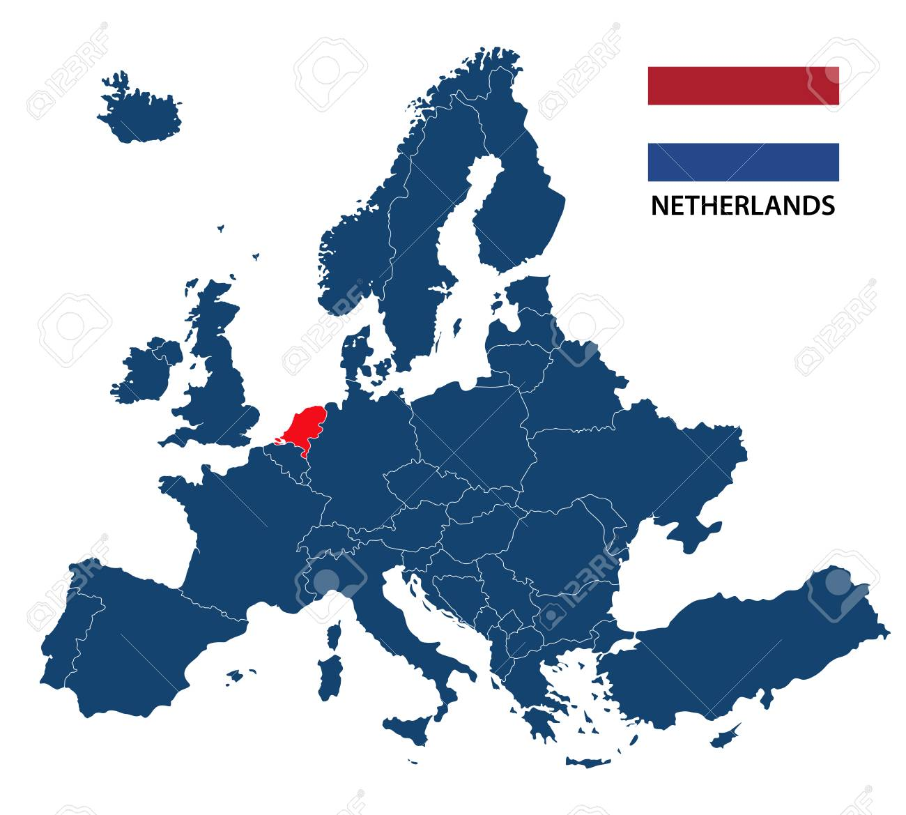 Niederlande Karte Europa.Stock Photo