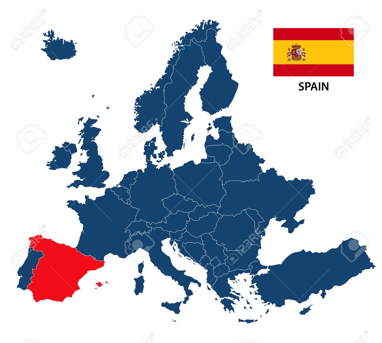 map of europe showing spain A Vector Illustration Of A Map Of Europe With Highlighted Spain