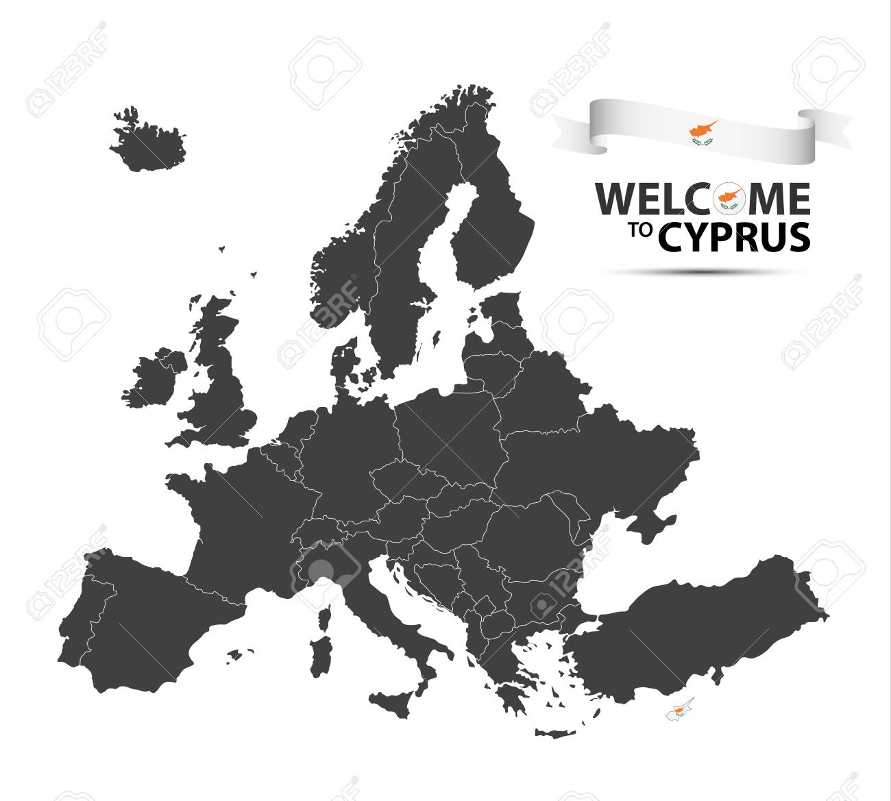 Vector Illustration Of A Map Of Europe With The State Of Cyprus
