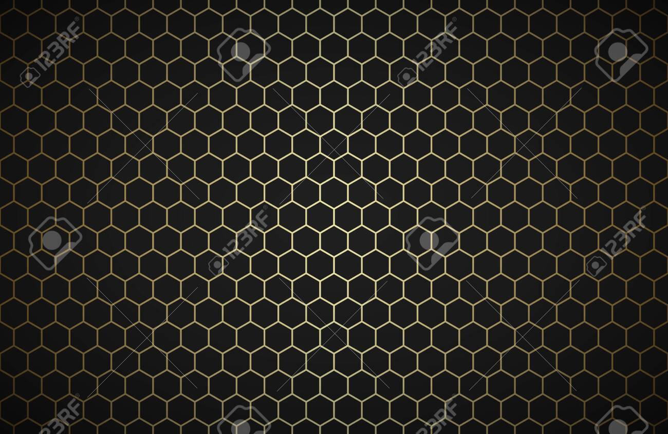 Geometric polygons background, abstract black and gold metallic wallpaper, simple vector illustration - 136633191