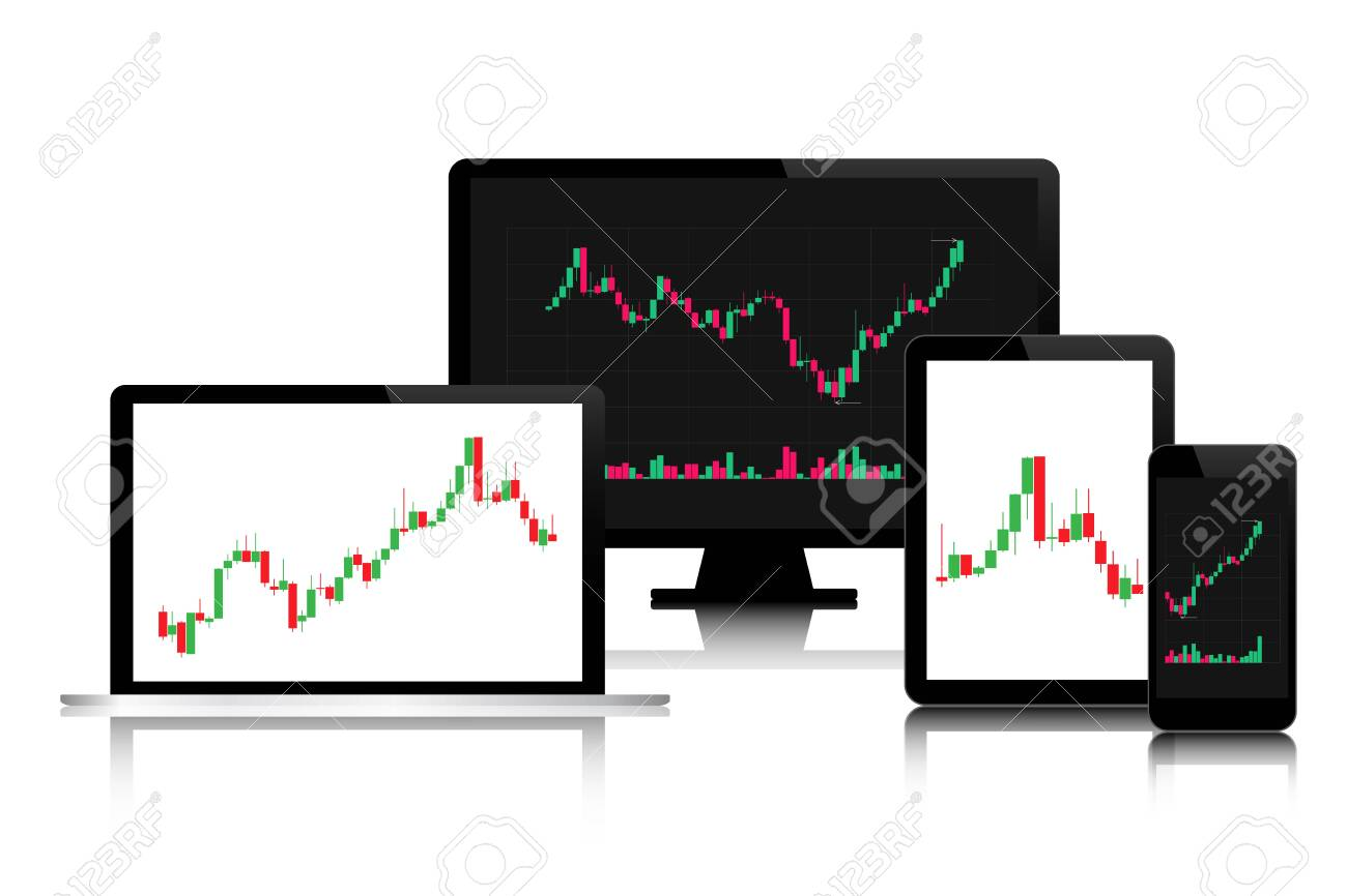 Set of modern digital tech devices with candlestick chart on the screen isolated on white background, trading graphic budiness concept, financial stock market - 140581601