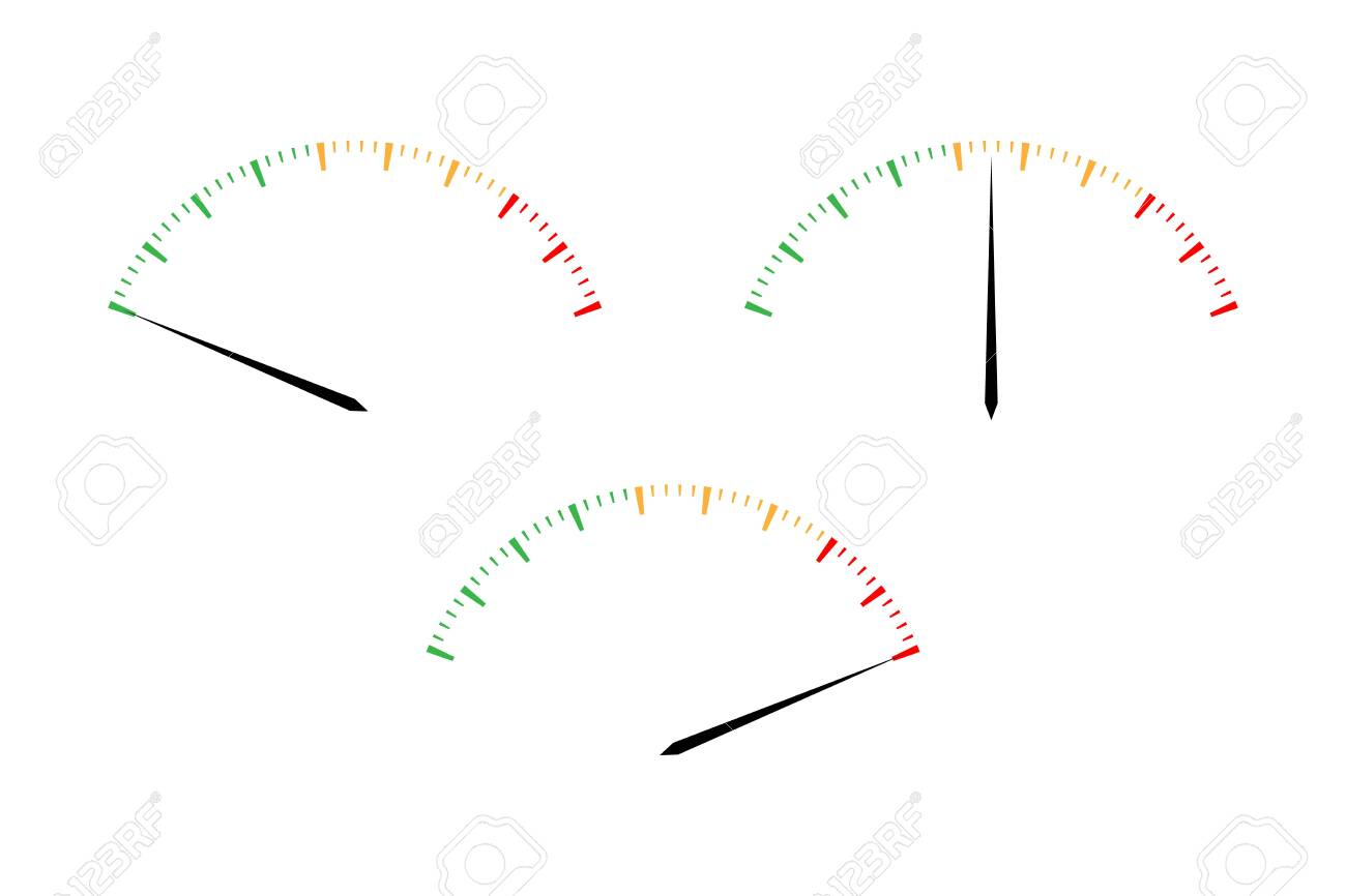 Set of simple vector tachometers with indicators in red, yellow and green part, speedometer icon, performance measurement symbol isolated on white background - 141776706