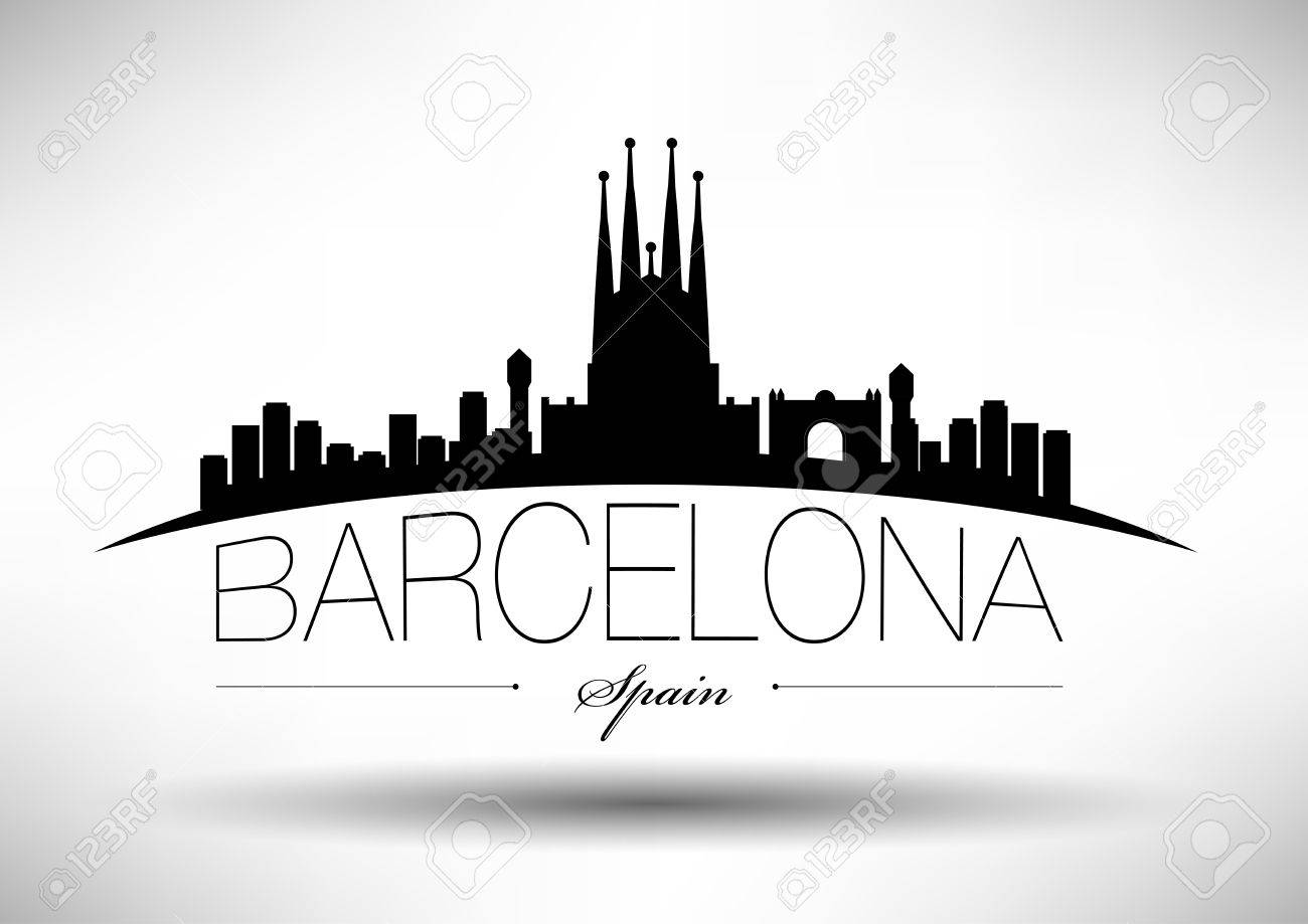 barcelona skyline with typography design royalty free cliparts vectors and stock illustration image 30411830 barcelona skyline with typography design