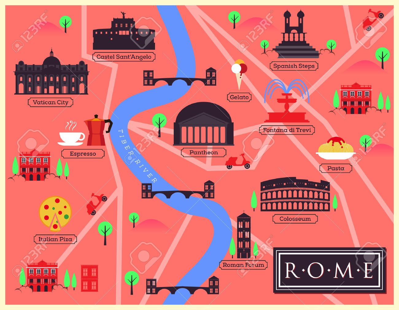 City Map Of Rome, Italy Royalty Free Cliparts, Vectors, And Stock ...