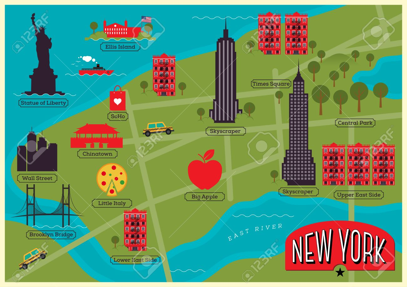 City Map Of New York City United States Royalty Free Cliparts - New york map ellis island