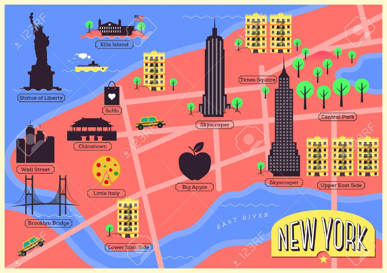 City Map Of New York City United States Royalty Free Cliparts - Map of new york ellis island