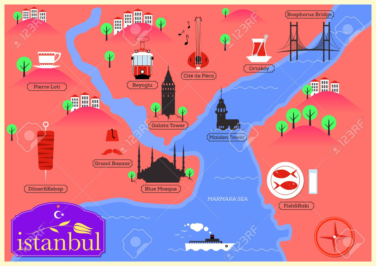 City Map Of Istanbul Turkey Royalty Free Cliparts Vectors And