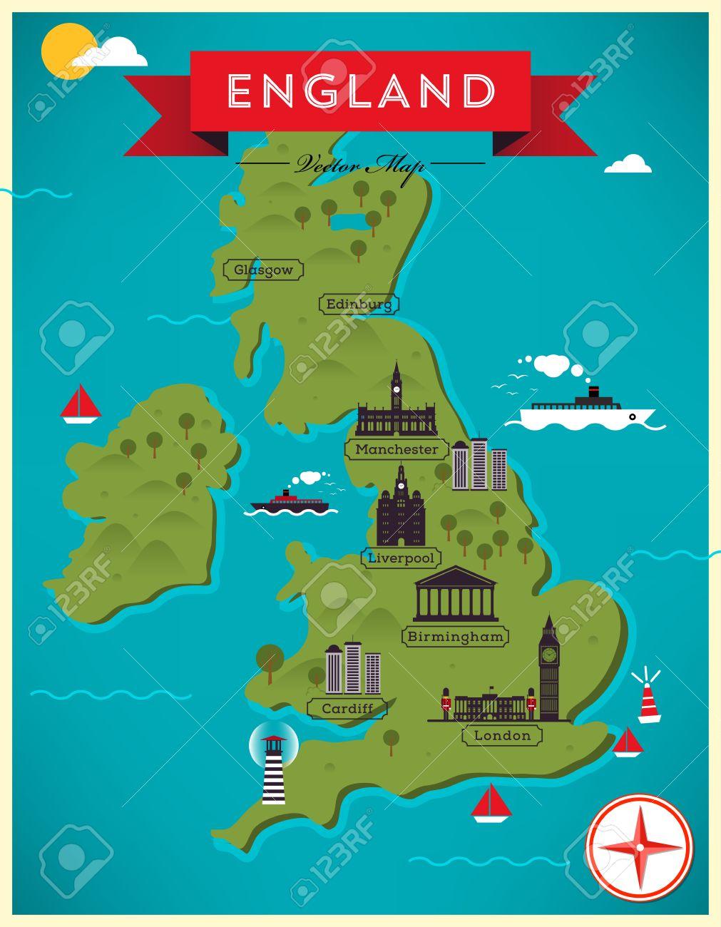 Map of England Illustration Uk Map Illustration on australia illustration, london illustration, singapore illustration, tv illustration, chile illustration, italy illustration, thailand illustration, africa illustration, china illustration, dj illustration,