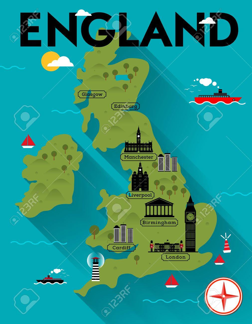 mapa de inglaterra Mapa De Inglaterra Ilustración Ilustraciones Vectoriales, Clip Art  mapa de inglaterra