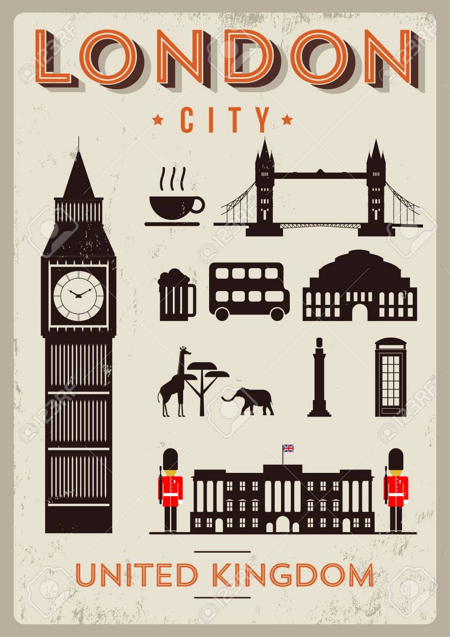 Poster design london - London City Poster Design With Symbols Of The London Stock Vector 35053146