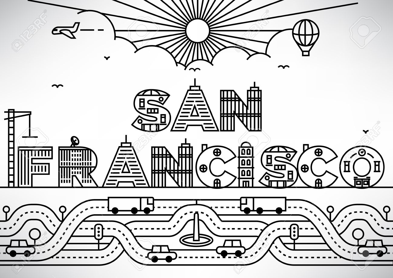san francisco city typography design with building letters stock vector 46245727
