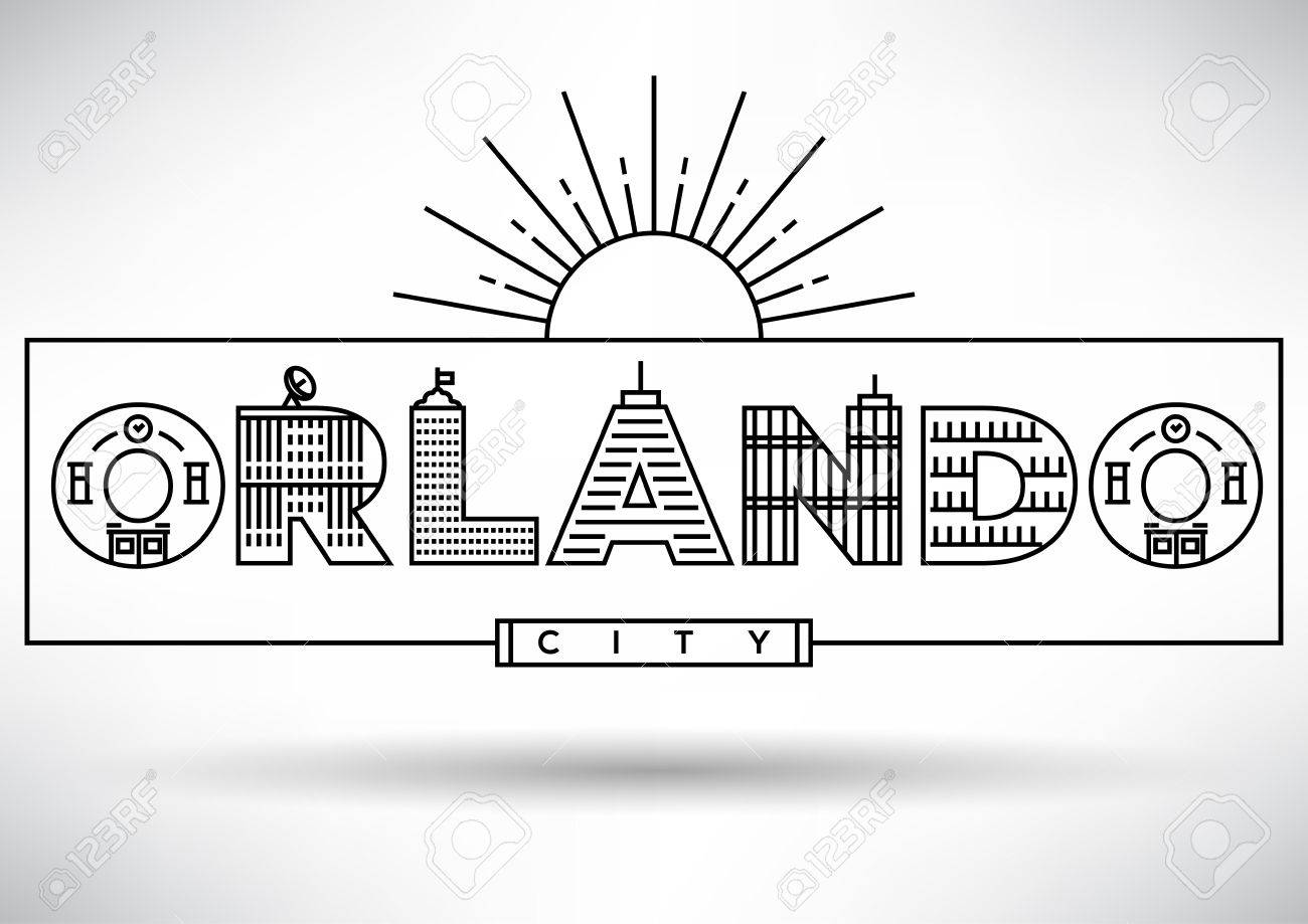 orlando city typography design with building letters stock vector 46245380