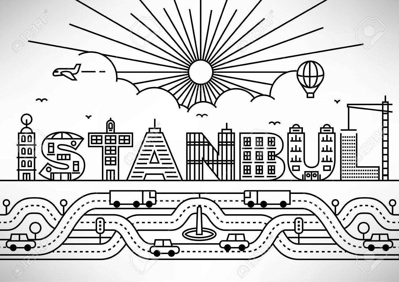 istanbul city typography design with building letters stock vector 46245381