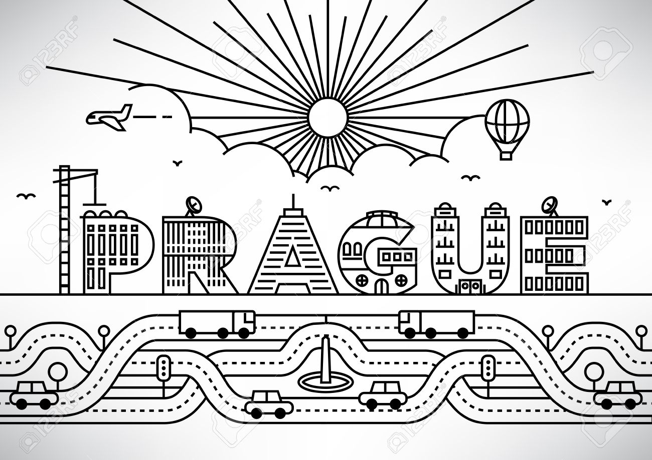 prague city typography design with building letters stock vector 46245676