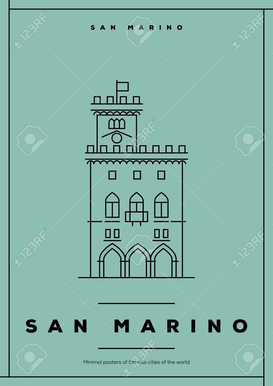 Minimal San Marino City Poster Design Royalty Free Cliparts, Vectors ...