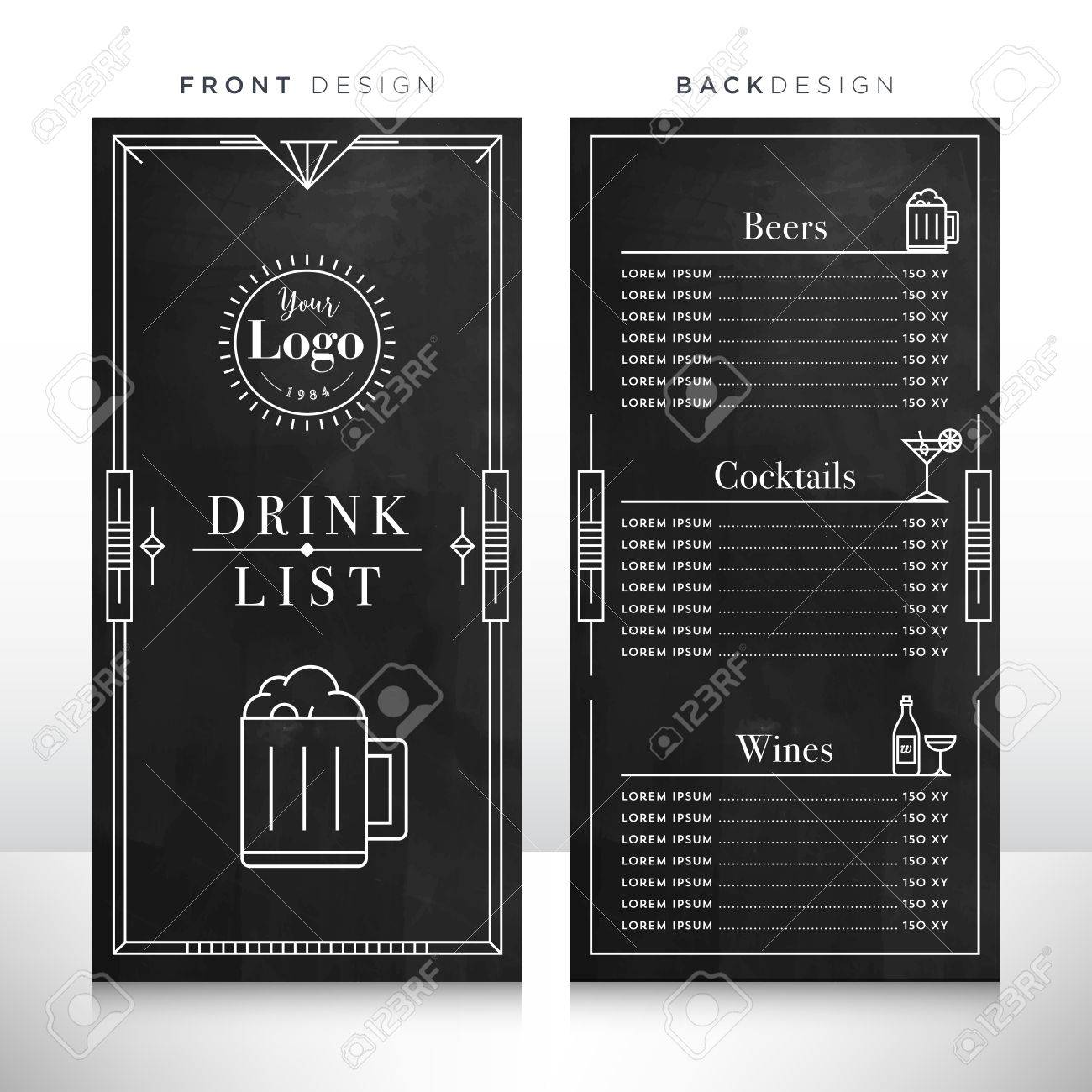 drink list menu design template royalty free cliparts, vectors, and