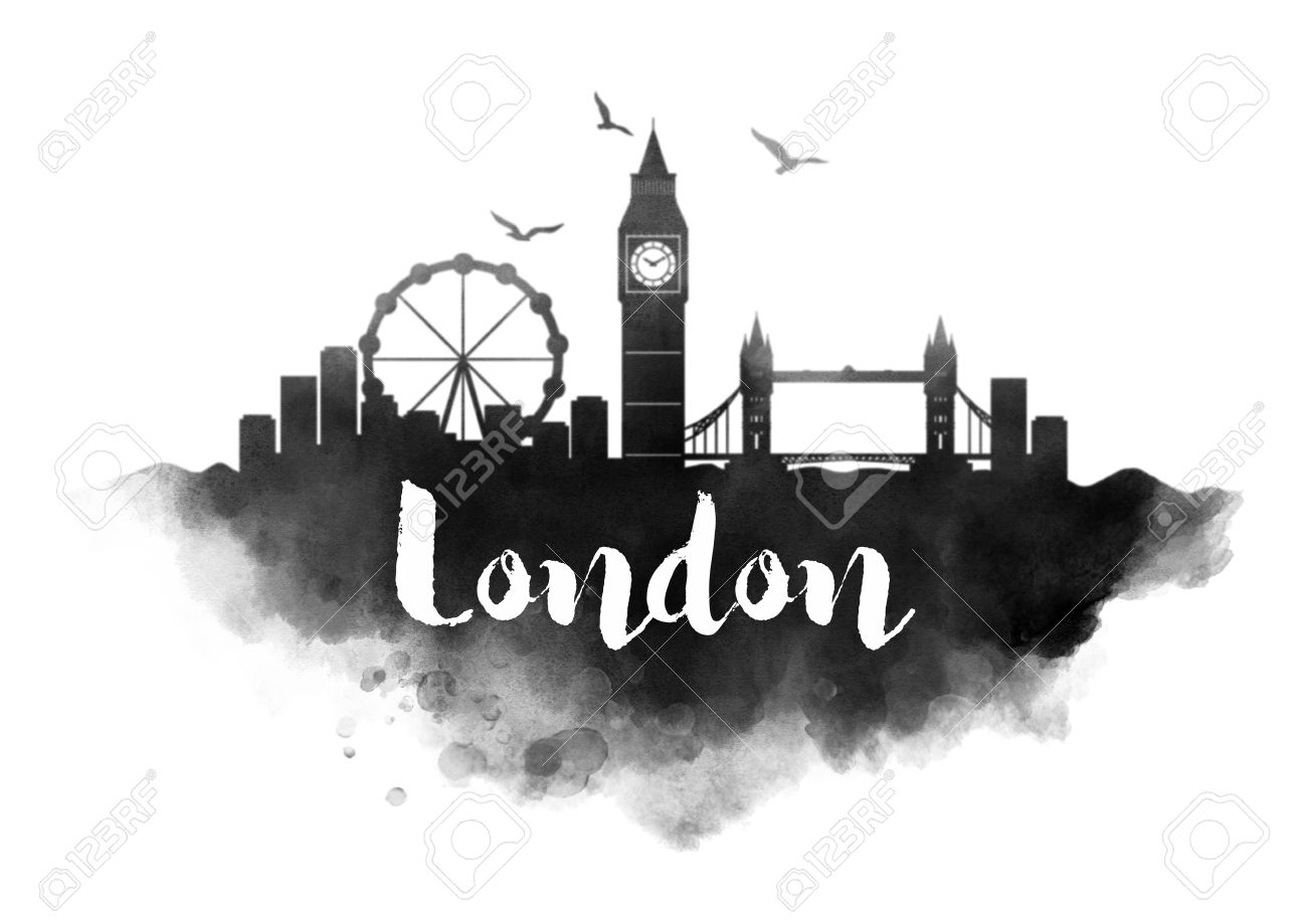 watercolor london city skyline stock photo picture and royalty free
