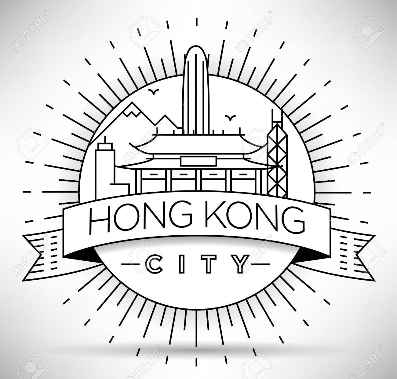 Minimal Vector Hong Kong City Linear Skyline With Typographic Design Stock