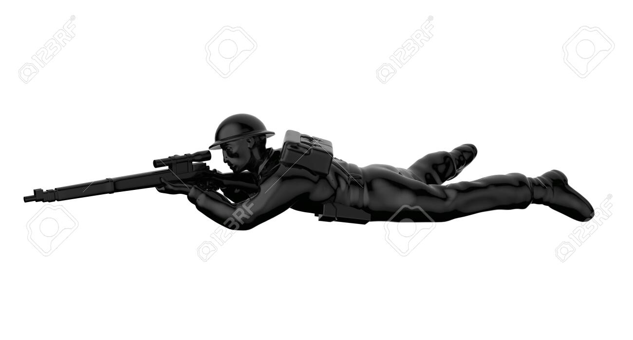 Army soldiers silhouette. Soldier keeps watch on guard. Rangers on border. Commandos team unit. Special force crew. 3d render - 146668008