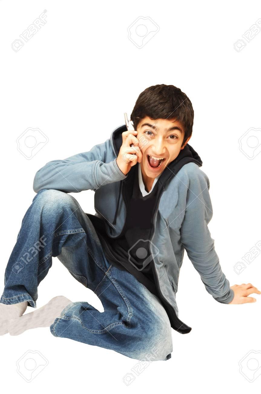Teen boy on the phone. Stock Photo - 2426255