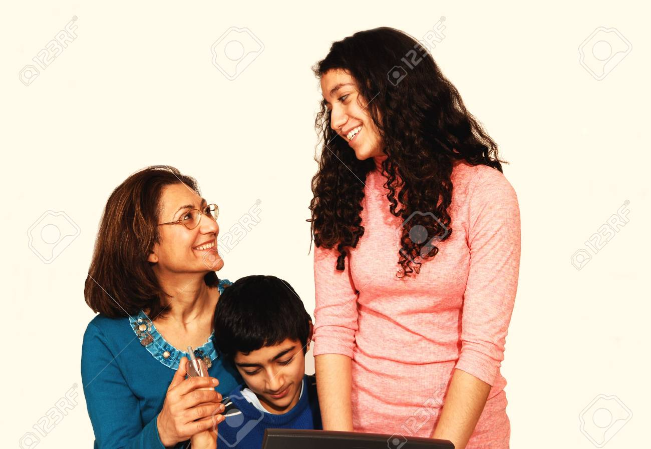 A mother with daughter and son sitting on the floor and having a very Stock Photo - 2487242
