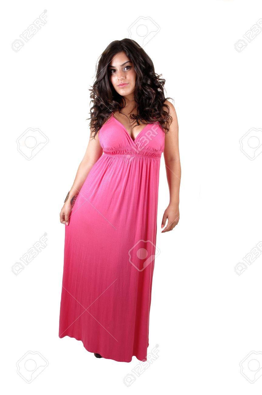 Ein Teenager In Einem Langen Rosa Kleid, Bereit Für Den ...