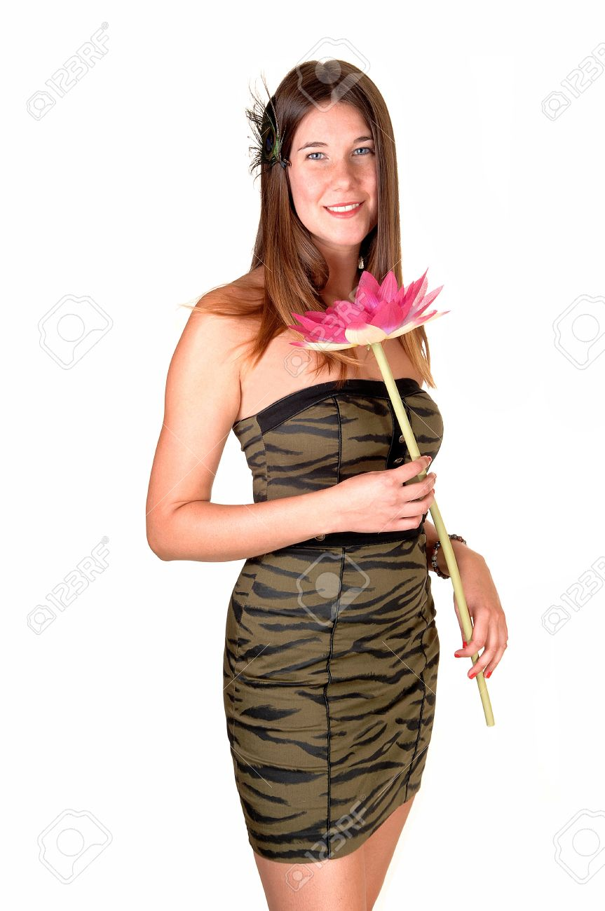 A Pretty Teenage Girl In A Strapless Olive Green Tight Dress ...