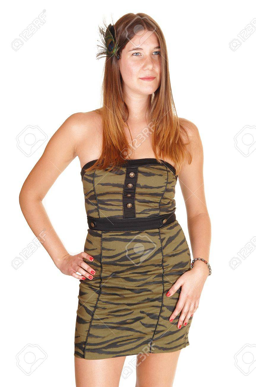 Teenage Girl In A Strapless Olive Green Tight Dress And A Feather ...