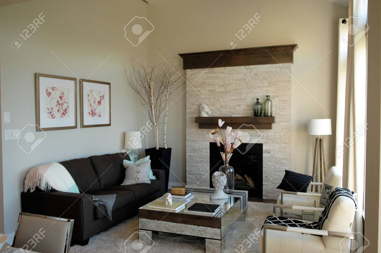 A small modern living room in a model home in Ottawa, Canada.