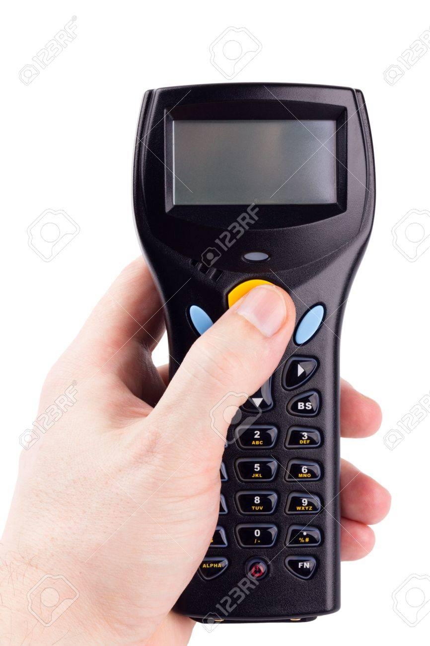 Electronic manual scanner of bar codes in man hand Stock Photo - 8802900