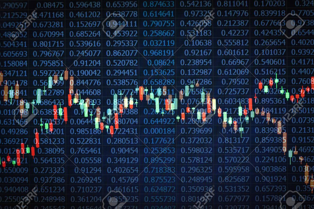 Overlaid photographs of candlestick charts on black random number