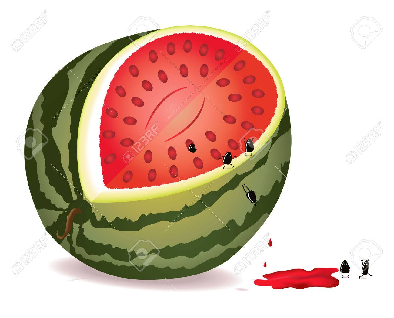 Six Alive Seeds Escape From GMO Water-melon Royalty Free Cliparts ...