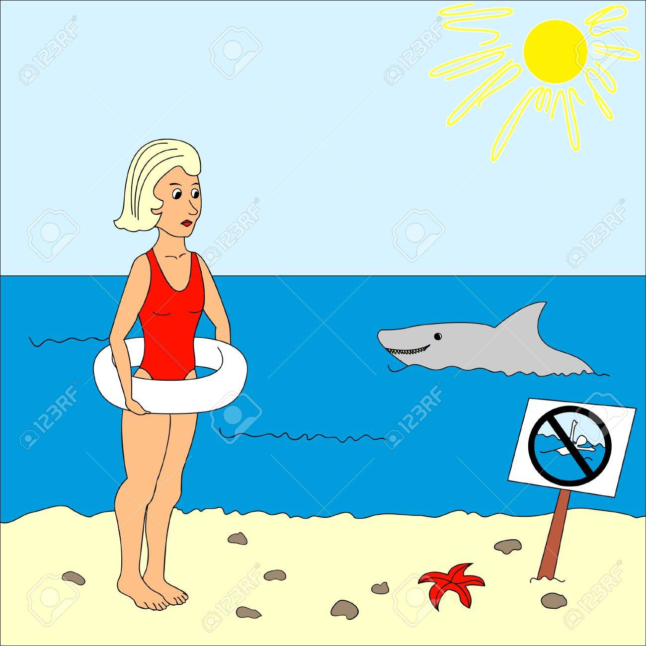 Girl with lifebuoy on the beach and shark in the sea Stock Vector - 9932685