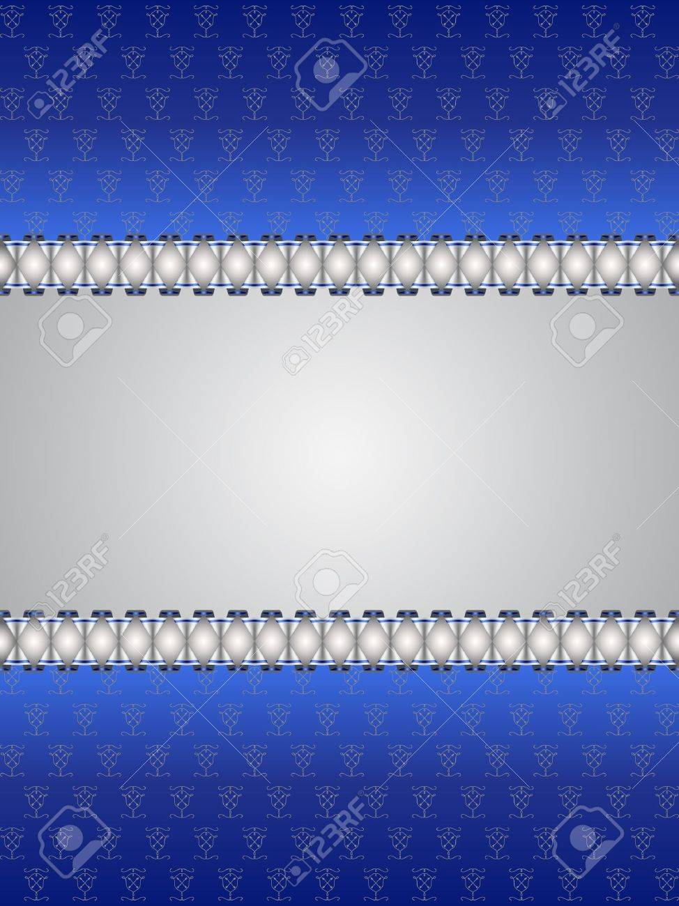 Vintage Tarjeta De Felicitación Azul Y Plata Con Lugar Para El Texto