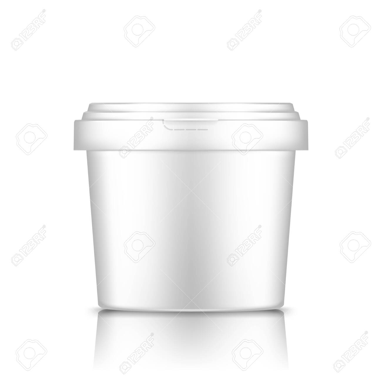 White bucket with cap mockup isolated from background: ice cream, yoghurt, mayonnaise, paint, or putty container. Plastic package design. Blank food or decor product template. 3d vector illustration - 151004401